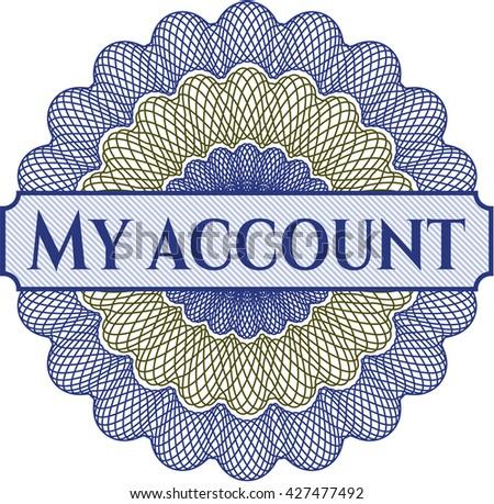 My account written inside rosette