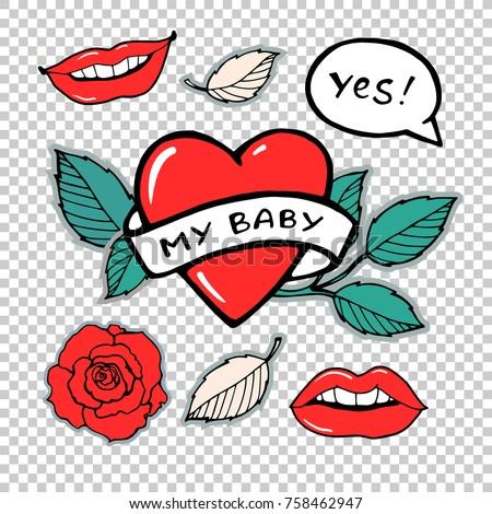 my baby rose  lips  heart