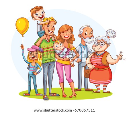 My big family together. Family portrait (father, mother, daughter, son, grandparents). Funny cartoon character. Vector illustration. Isolated on white background.