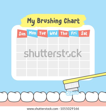 My brushing chart illustration vector on blue background. Dental concept. #1055029166