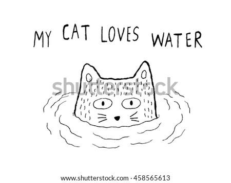 my cat loves water  vector
