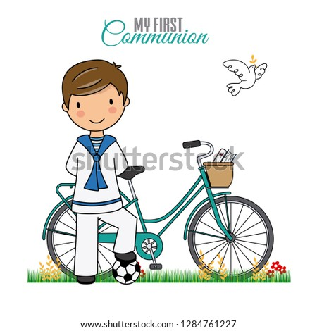 my first communion boy. Boy with bicycle