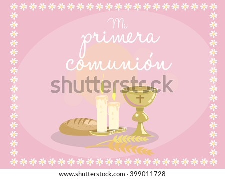 First communion invitation background download free vector art card invitation religious elements on pink background frame made with stopboris Images