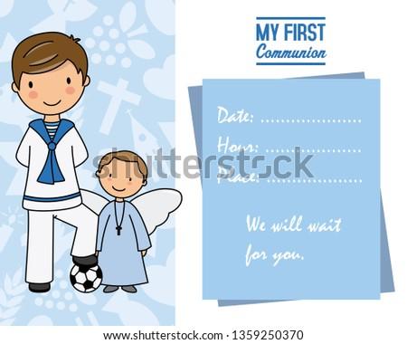 Cartão De Primeira Comunhão Para Menino Download Vetores