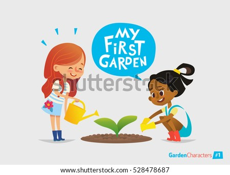 My first garden concept. Cute kids care for plants in the garden. Early education, outdoor activities. Montessori gardening.