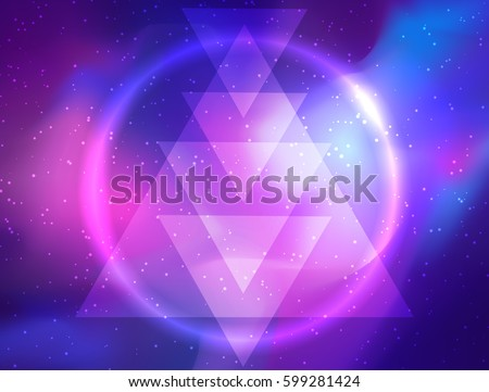 My Galaxy. Vector bright colorful cosmos illustration with sacred geometry. Abstract cosmic background with stars. Astronomy, astrology, alchemy, boho and magic texture. lens flare ,