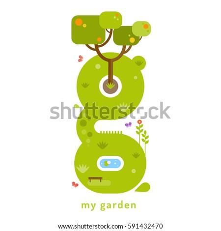 my garden the letter g vector