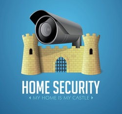 My home is my castle - security system concept - Castle with cctv camera