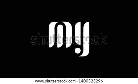 MY logo design template vector illustration minimal design