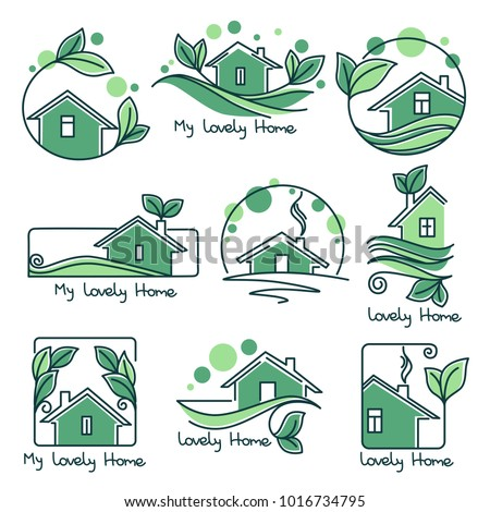 my lovely home  vector set of