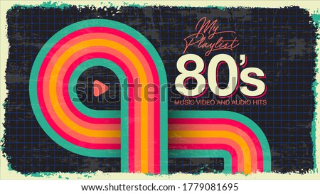 My playlist. 80's Awesome super video, audio hits. VHS glitch effect. 80's,90's style.  Retro vintage cover. Eighties color letters. Old style tape, banner or poster. Easy editable design template.  Stock photo ©