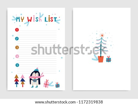 My wish list: page template. Hand drawn graphic for Christmas. Vector illustration.