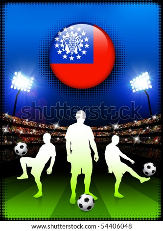 Myanmar Flag Button with Soccer Match in Stadium Original Illustration - stock vector