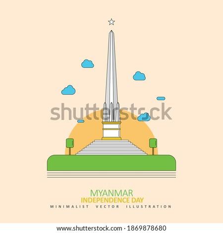 Myanmar Independence Day, National Independence Monument in Maha Bandula Park, Yangon, Myanmar, Minimalist Flat Vector Illustration