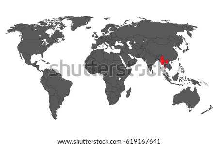 World countries map vector download free vector art stock myanmar red on gray world map vector sciox Gallery