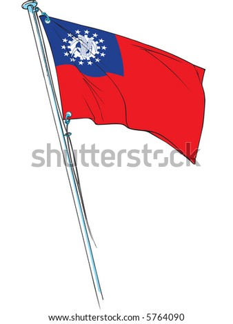 myanmar revolutionary flag waving on a flag pole