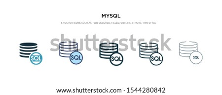 mysql icon in different style vector illustration. two colored and black mysql vector icons designed in filled, outline, line and stroke style can be used for web, mobile, ui