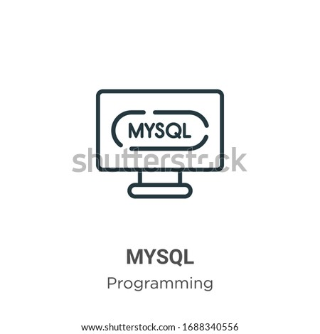 Mysql outline vector icon. Thin line black mysql icon, flat vector simple element illustration from editable programming concept isolated stroke on white background