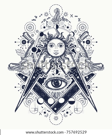 Mysteries of knowledge of mankind. Masonic symbol tattoo and t-shirt design. All seeing eye. Alchemy, medieval religion, occultism, spirituality and esoteric