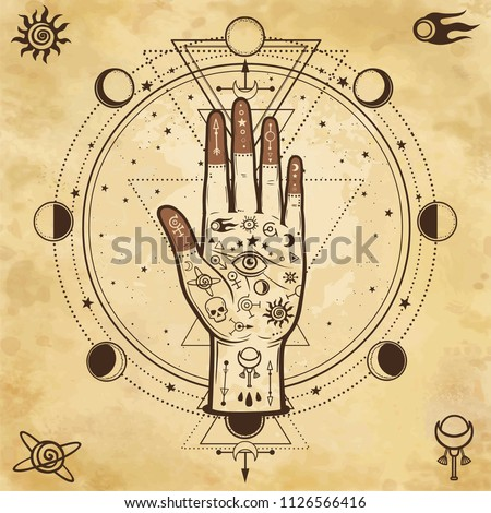 Mysterious background: divine hand, providence eye, sacred geometry, phases of the moon. Background - imitation of old paper. Esoteric, mysticism, occultism. Print, poster, t-shirt, card. Vector.