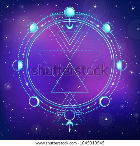 Mysterious background: night star sky, circle of a phase of the moon, sacred geometry.  Esoteric, mysticism, occultism. Print, poster, t-shirt, card. Vector illustration. Place for the text.