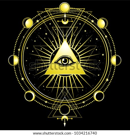 Mysterious background: pyramid, all-seeing eye, sacred geometry. Esoteric, mysticism, occultism. Print, poster, t-shirt, card. Vector illustration on a black background.
