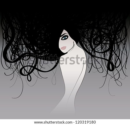 Mysterious black-haired woman / Portrait of girl with Beautiful long hair