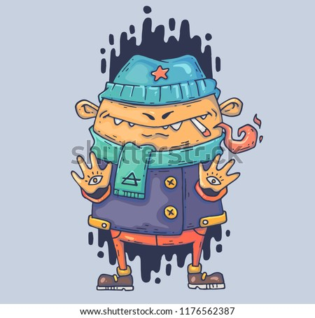 Mysterious bully with a cigarette. Cartoon illustration for print and web. Character in the modern graphic style. Trendy style.
