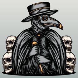 Mysterious doctor plague. Premium vector