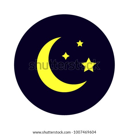 Mysterious night sky moon and stars on deep blue background flat vector illustration good night relaxation sleeping nighttime moonlight rest halfmoon moonlight midnight icon symbol astronomy app logo.