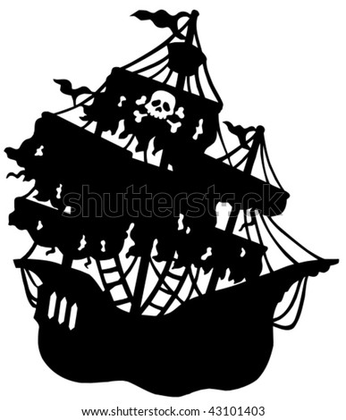 Mysterious pirate ship silhouette - vector illustration.