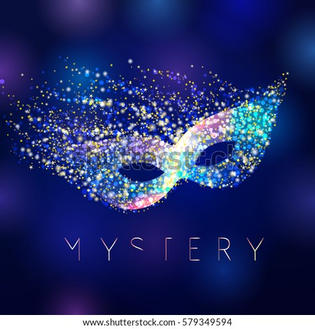 Stock Photo Mystery celebrating vector mask. Shining lighting holiday logo. Gold and blue colored decorating accessory on abstract water background. Greeting card, arts idea.