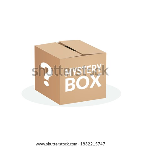 Mystery contest box, lucky prize present surprise secret. Mystery box gift question icon Сток-фото ©