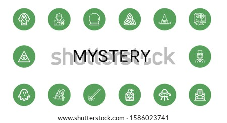 mystery icon set. Collection of Crystal ball, Magician, Paganism, Witch hat, Anonymous, Haunted house, Wizard, Magic wand, Witch, Ufo, Moai, Freemasonry icons