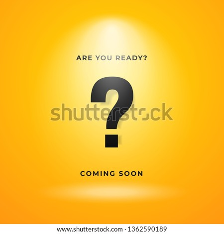 Mystery item coming soon poster background. Yellow backdrop with bright spotlight and calligraphy text illustration.