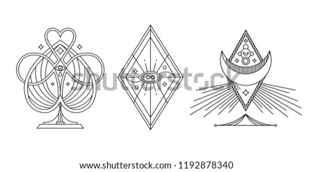 Mystery, occult, alchemy, mystical. Vector tattoo symbols.