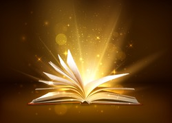 Mystery open book with shining pages. Fantasy book with magic light sparkles and stars. Vector illustration