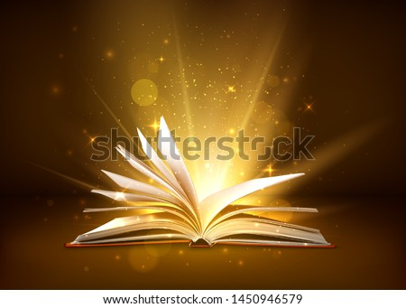 Mystery open book with shining pages. Fantasy book with magic light sparkles and stars. Vector illustration stock photo