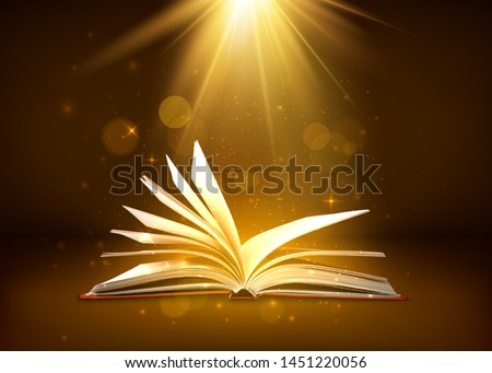 mystery open book with shining