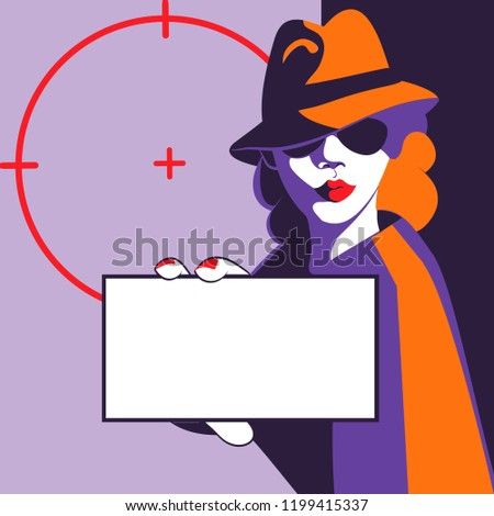 Mystery shopper sexy woman showing identity or card with empty space