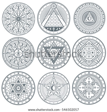 Mystery, witchcraft, occult, alchemy, mystical vintage gothic vector tattoo symbols.