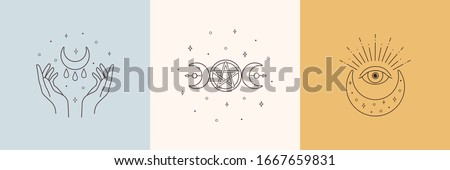 Mystic boho logo, design elements with moon, hands, star, eye. Vector magic symbols isolated on white background Stock fotó ©