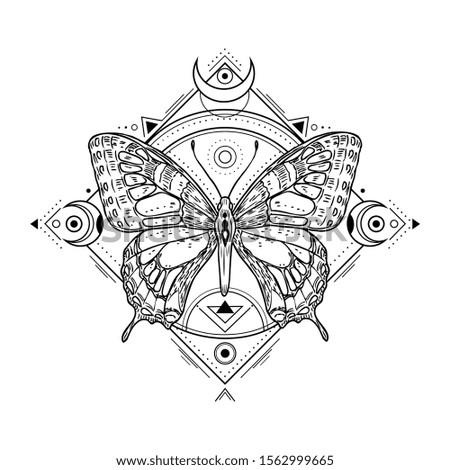 Mystic insect tattoo. Engraving mystical spiritual sketch design. Alchemy freemasonry occult vector symbol
