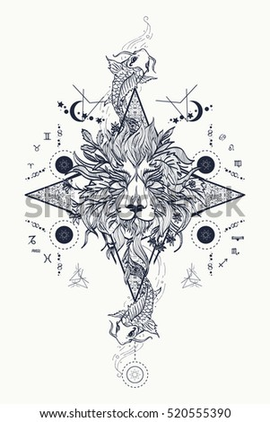 Mystic lion and carp, medieval astrological symbols, occult tattoo. Lion head. Alchemy, religion, spirituality, occultism, coloring books.