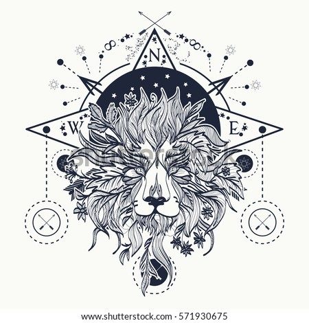Mystic lion tattoo art. Alchemy, religion, spirituality, occultism, tattoo lion art and t-shirt design