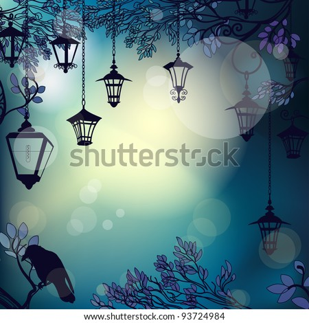 mystic night background with
