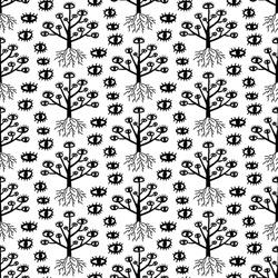 Mystic trees surreal hand drawn seamless pattern black white eyes phantasmagoria