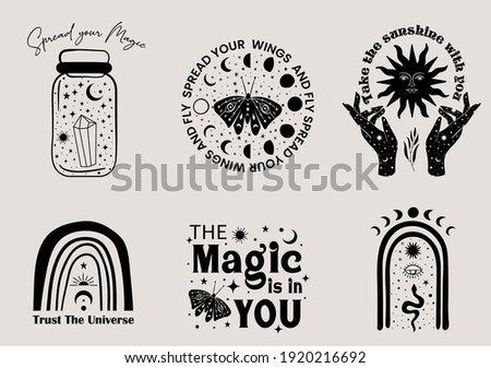 Mystical and celestial minimalist graphic set with motivational sayings. Set of alchemy esoteric  magical elements like woman hands, sun, moon, stars, butterfly, snake.