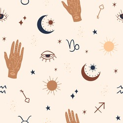 Mystical and Celestial Seamless pattern with eyes, stars, Palm and zodiac elements. Esoteric background Vector.