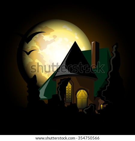 mystical castle at night in the
